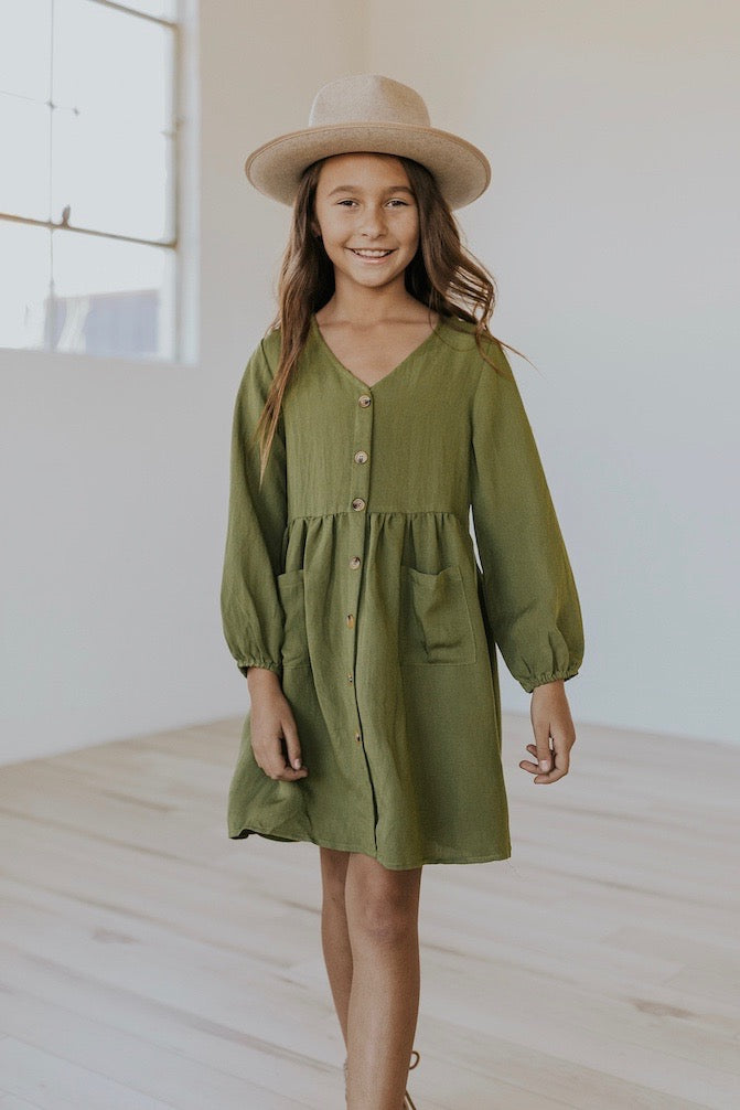 Cute button up kids dress | ROOLEE