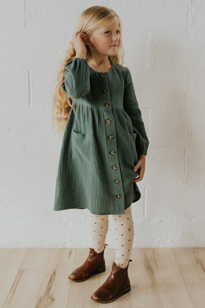 Cute green kids holiday dresses | ROOLEE