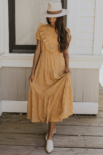 Fancy casual mustard mom dress | ROOLEE