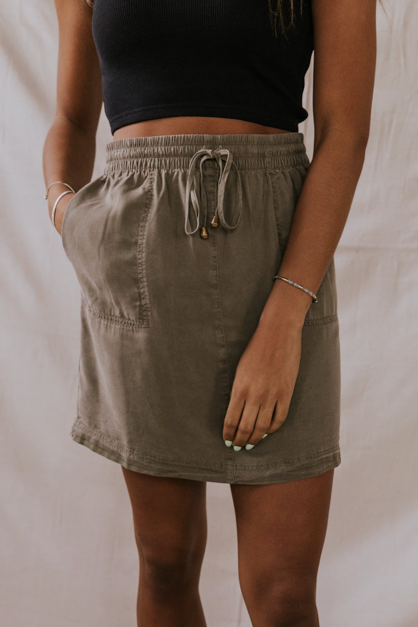 Olive Green Mini Skirt | ROOLEE