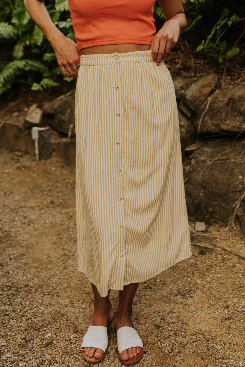 Yellow stripe skirt | ROOLEE
