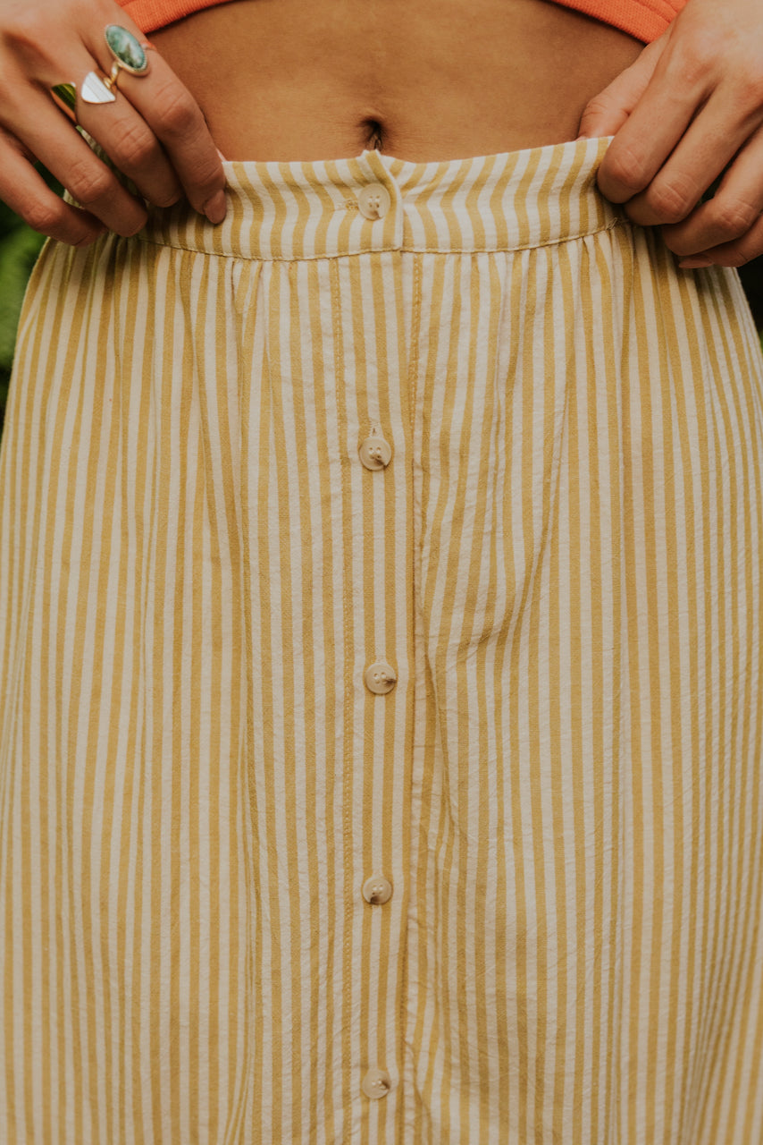Button up stripe summer skirt | ROOLEE