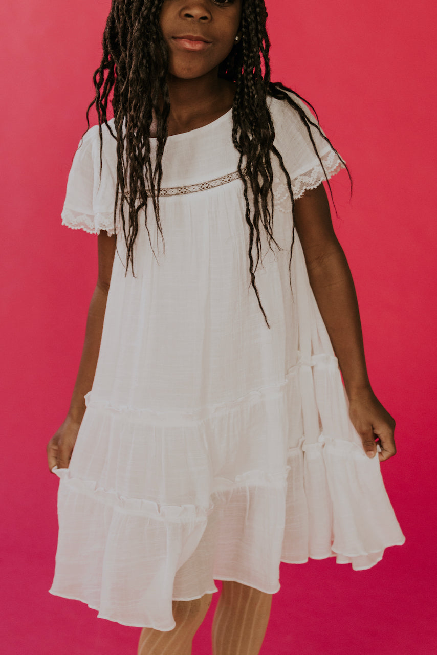 White Babydoll Dress for Girls | ROOLEE