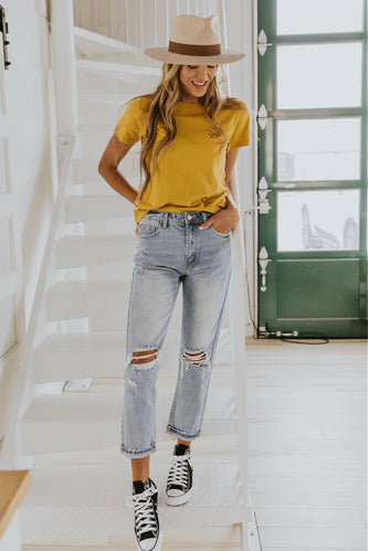 Scout Mid Rise Distressed Boyfriend Jeans