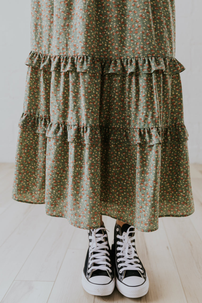 Tiered Sage Green Maxi Skirt for Women | ROOLEE