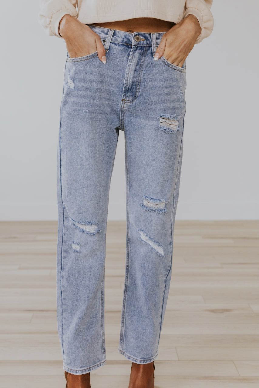 High Rise Distressed Jeans | ROOLEE