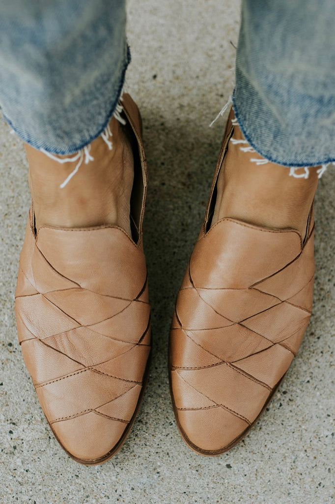 Tan Leather Slip On Shoes For Women | ROOLEE Footwear