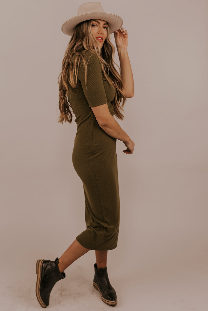 Olive Green Body Con Dress | ROOLEE