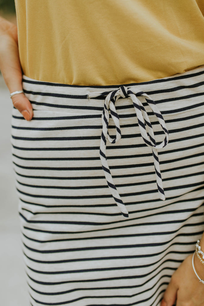 Navy + Cream Stripe Skirt | ROOLEE
