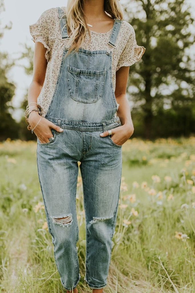 Distressed Overalls w/Adjustable Straps | ROOLEE