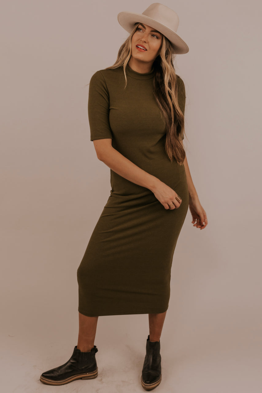 Olive Green High Neck Dress | ROOLEE