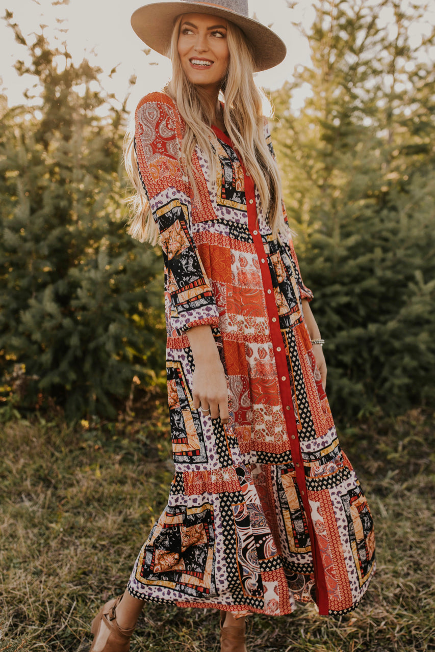 Bright Patchwork Maxi Dress | ROOLEE