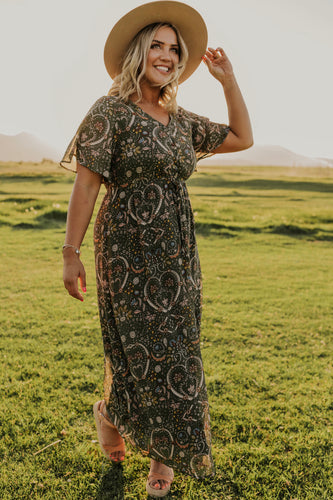 Olive Print Maxi Dress | ROOLEE