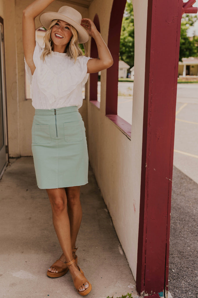 Sage Zipper Skirt | ROOLEE