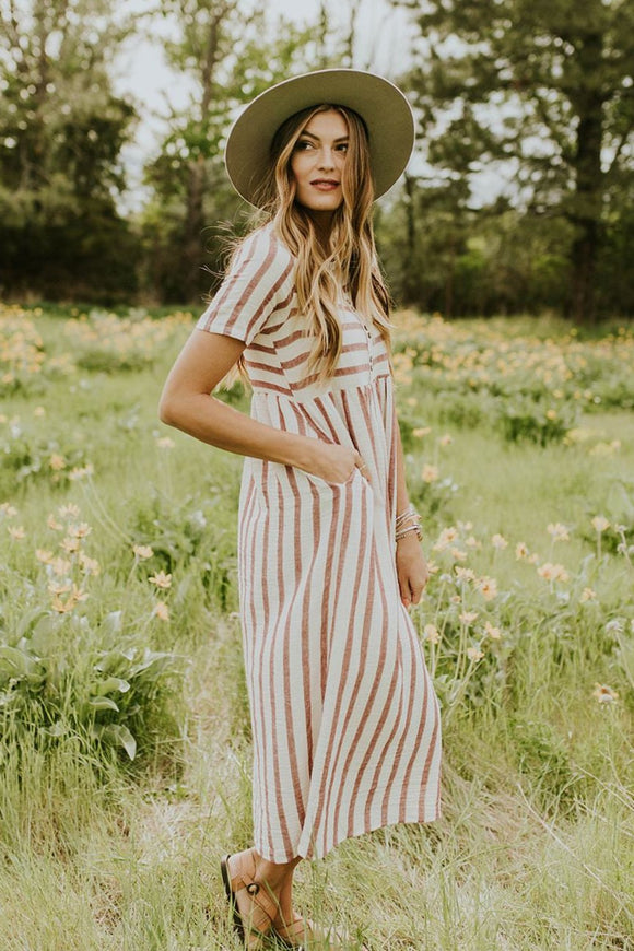 Montgomery Stripe Maxi in Ruby | ROOLEE