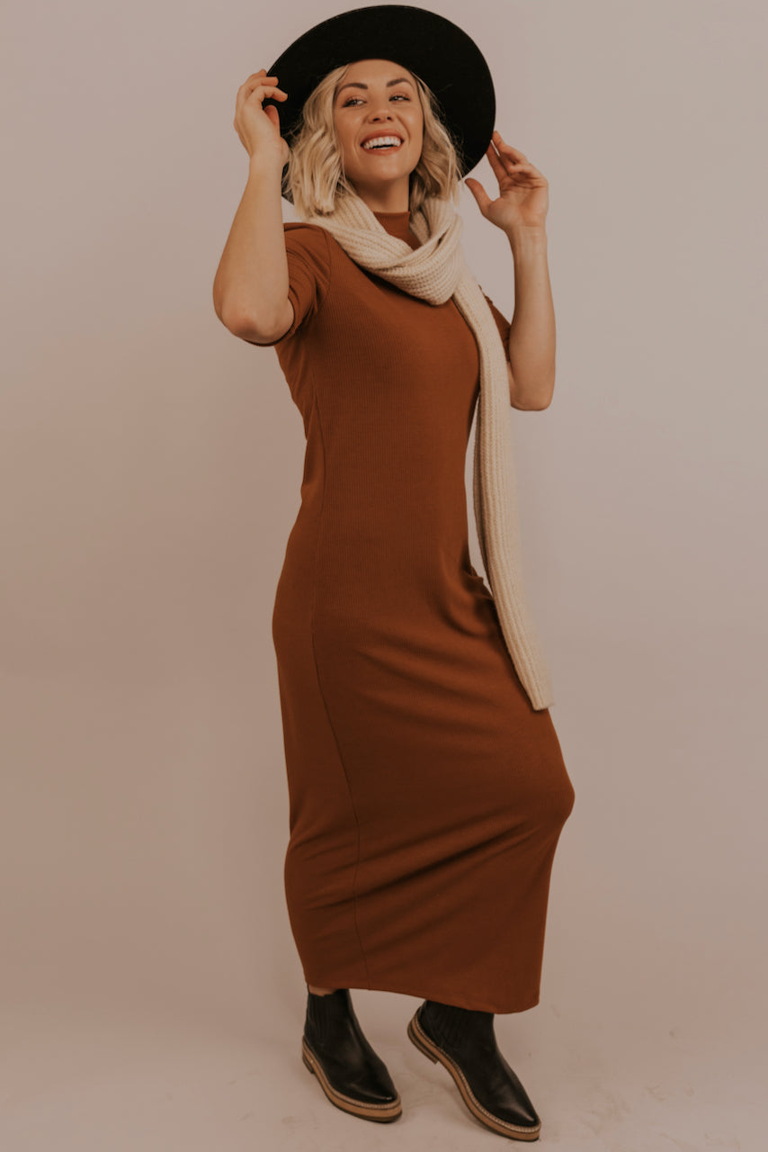 Copper Mock Neck Dress | ROOLEE