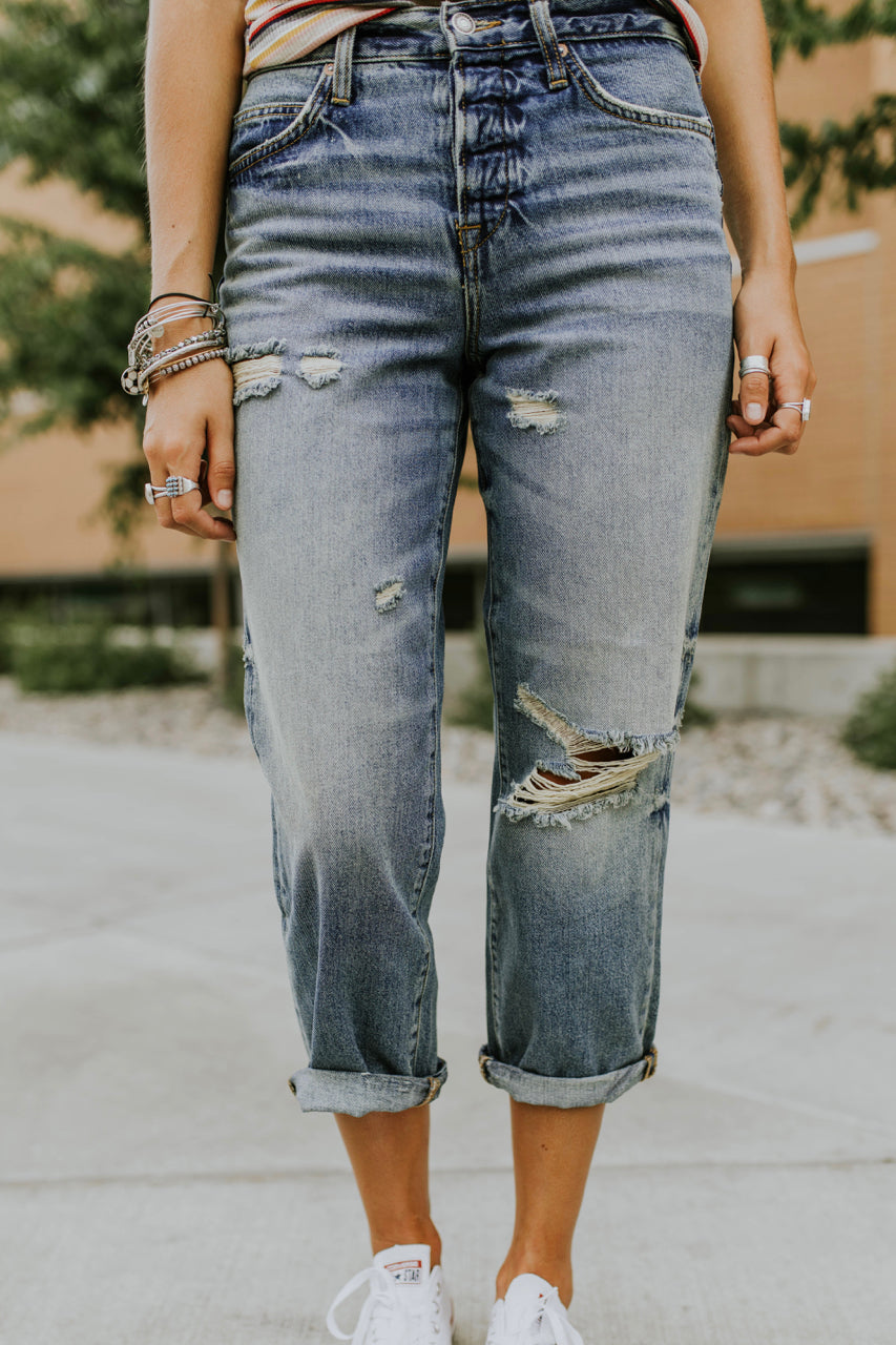 Distressed Boyfriend Jeans | ROOLEE