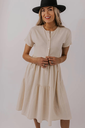 Cream Button Down Dress | ROOLEE