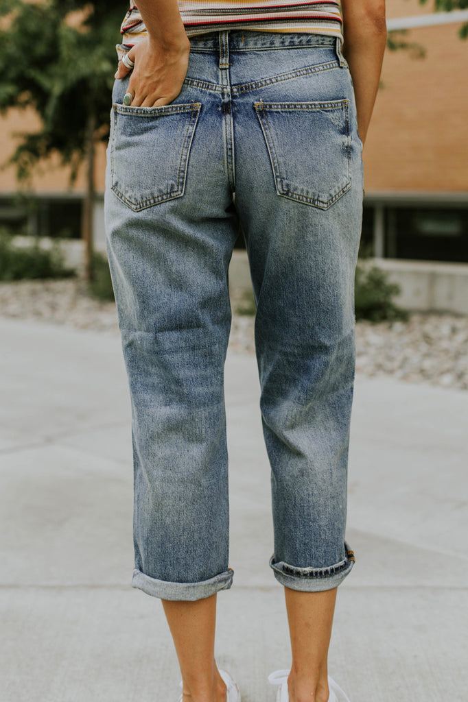 Light Wash Denim w/Distressed Detail | ROOLEE