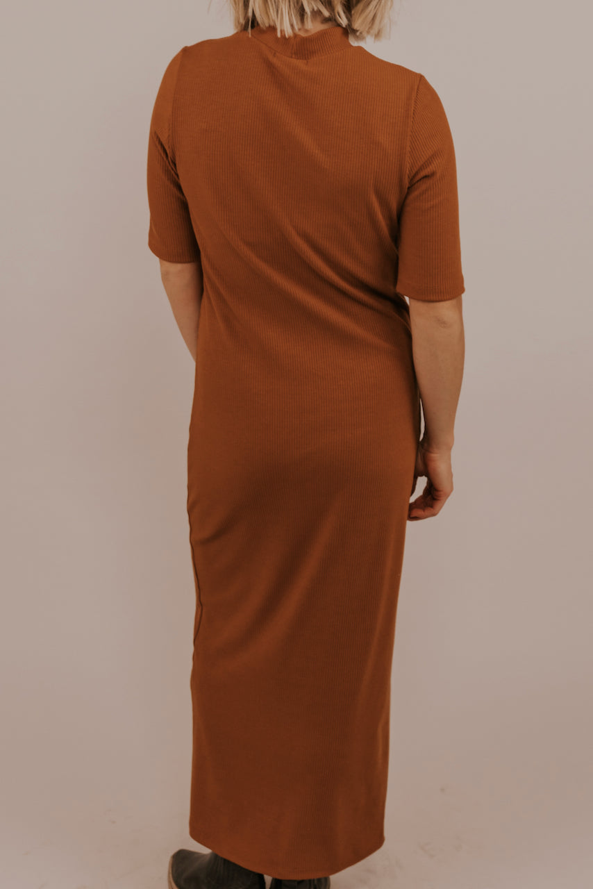 Camel Solid Body Con Dress | ROOLEE