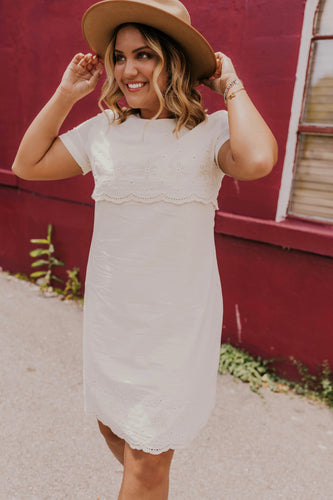 Cute White Embroidered Dress | ROOLEE