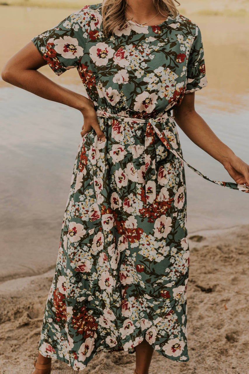 Teal Floral Maxi Dress | ROOLEE
