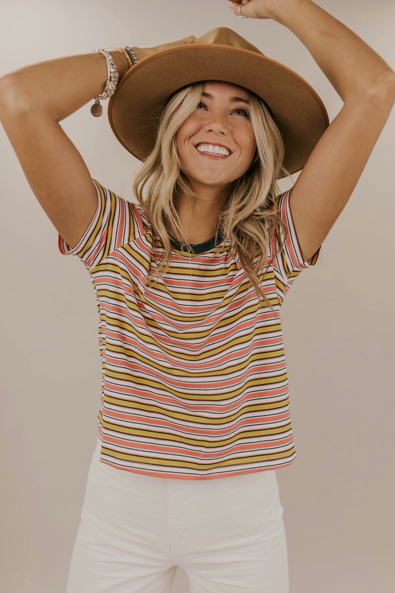 Multi Color Stripe Tee Outfit | ROOLEE