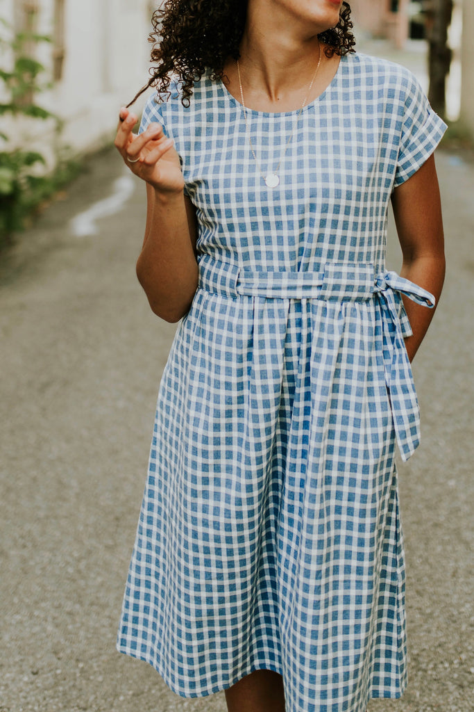 Delilah Checkered Midi in Blue | ROOLEE