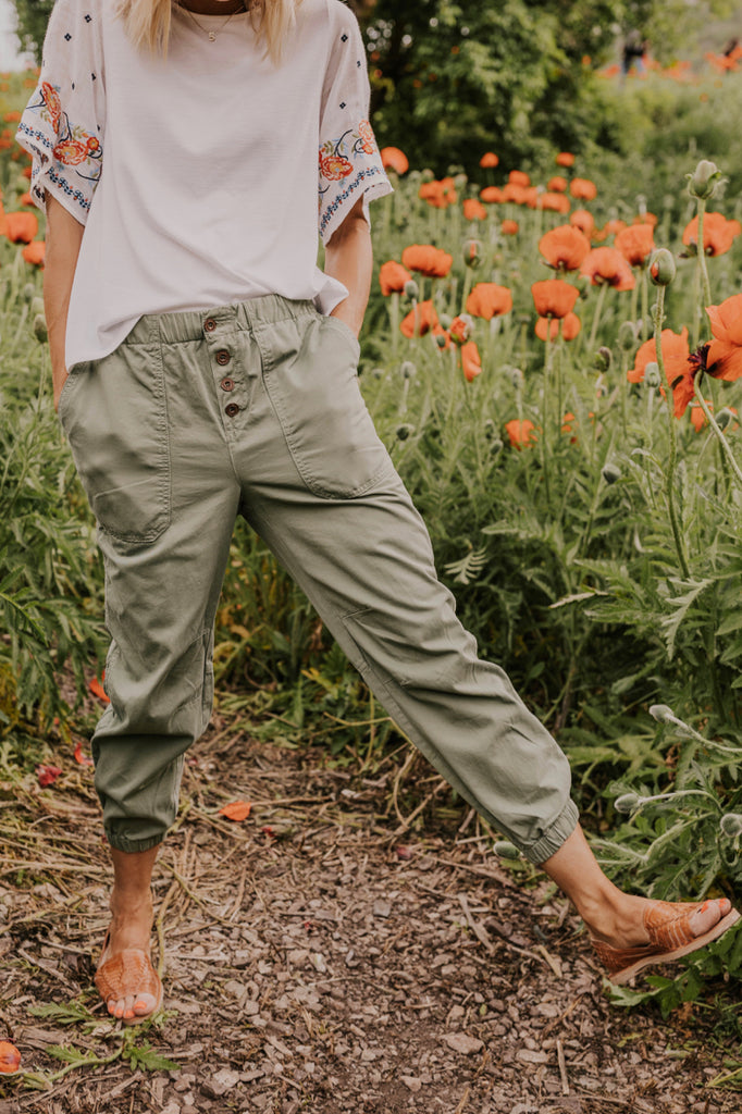 Green Button Joggers | ROOLEE