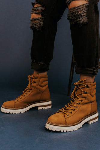Tan Leather Combat Boots | ROOLEE