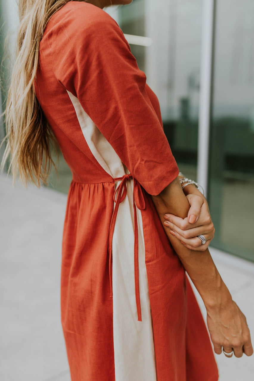 Red Contrast Dress | ROOLEE
