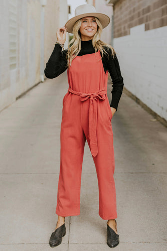 Bridger Tie Jumpsuit in Red | ROOLEE