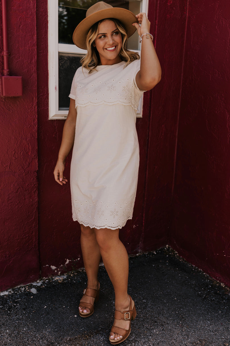 Online White Embroidered Dress | ROOLEE