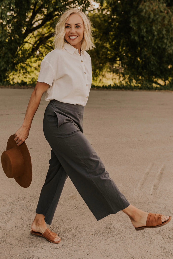 Charcoal Wide Leg Pants | ROOLEE