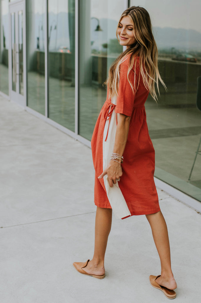 Cream + Red Contrast Dress | ROOLEE