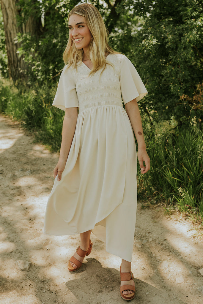 Smocked Bodice Cream Bridesmaid Dress | ROOLEE