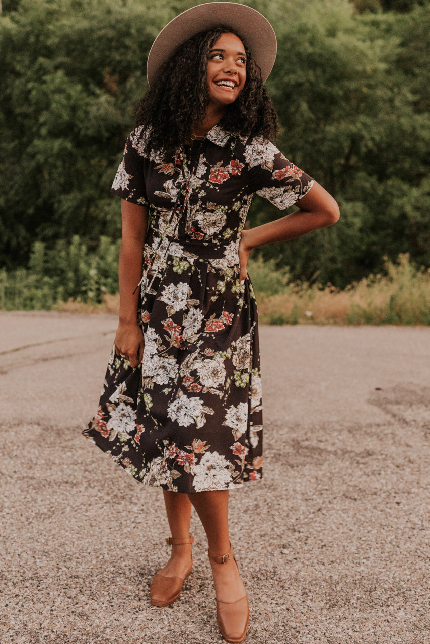Black Floral Dress | ROOLEE