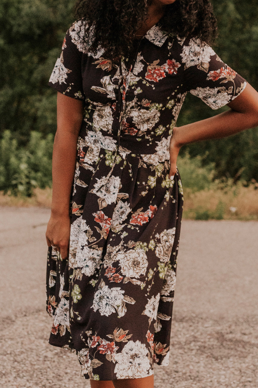 Black Floral Midi Dress | ROOLEE