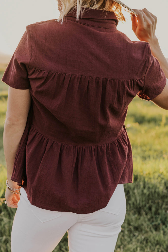 Button Up Ruffle Blouse | ROOLEE