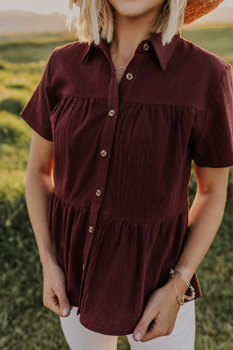 Burgundy Button Top for Women | ROOLEE