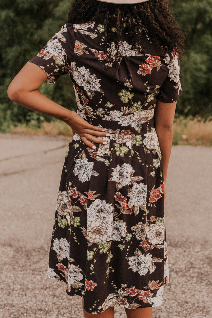 Floral Tie Neck Dress | ROOLEE