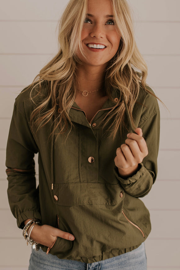 Olive Hooded Jacket With Metallic Detail | ROOLEE