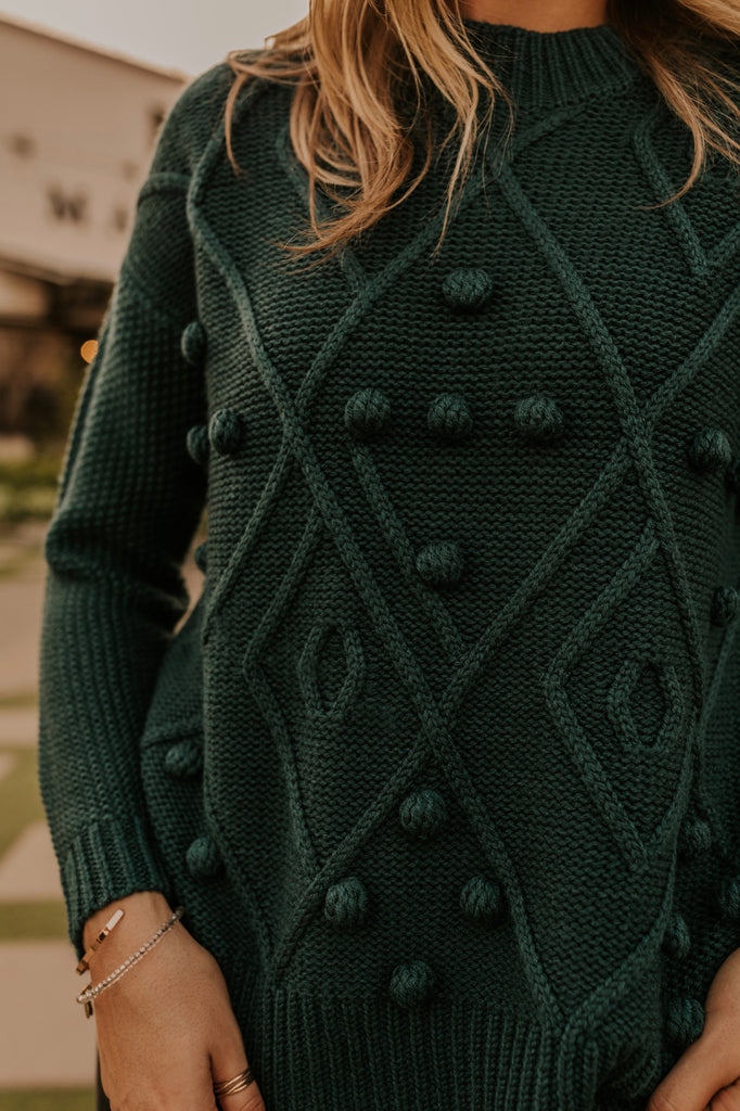 Chunky Knit Sweater in Teal for Fall | ROOLEE