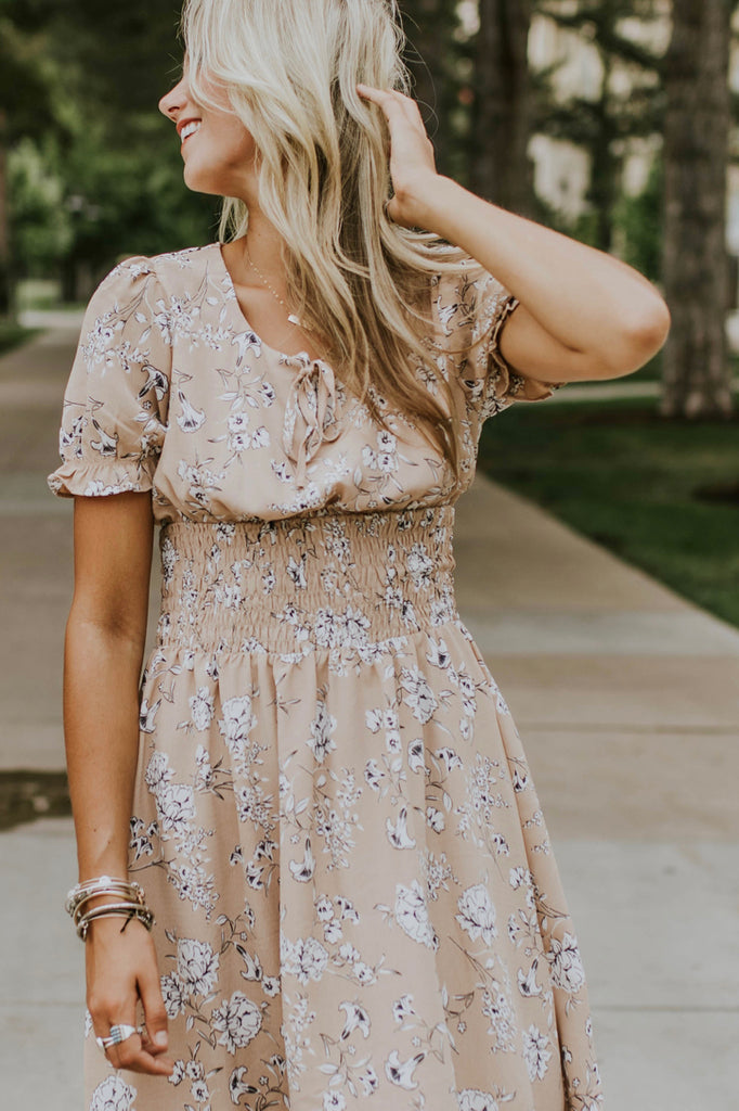 Tan Floral Dress | ROOLEE