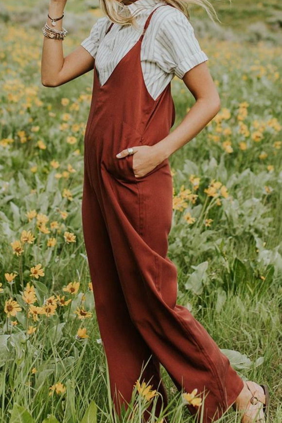 Summer Jumpsuit in Red with Spaghetti Straps | ROOLEE