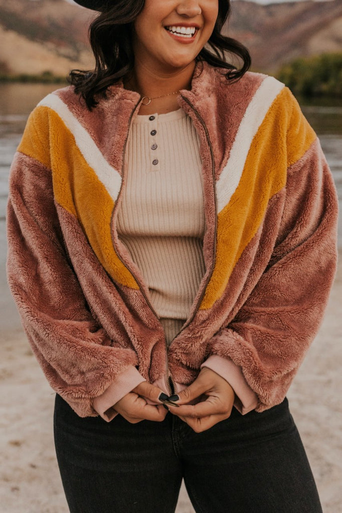 Pink Fuzzy Coat with Chevron Winter Detail | ROOLEE