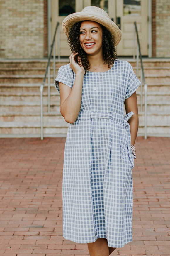 Delilah Checkered Midi in Grey | ROOLEE
