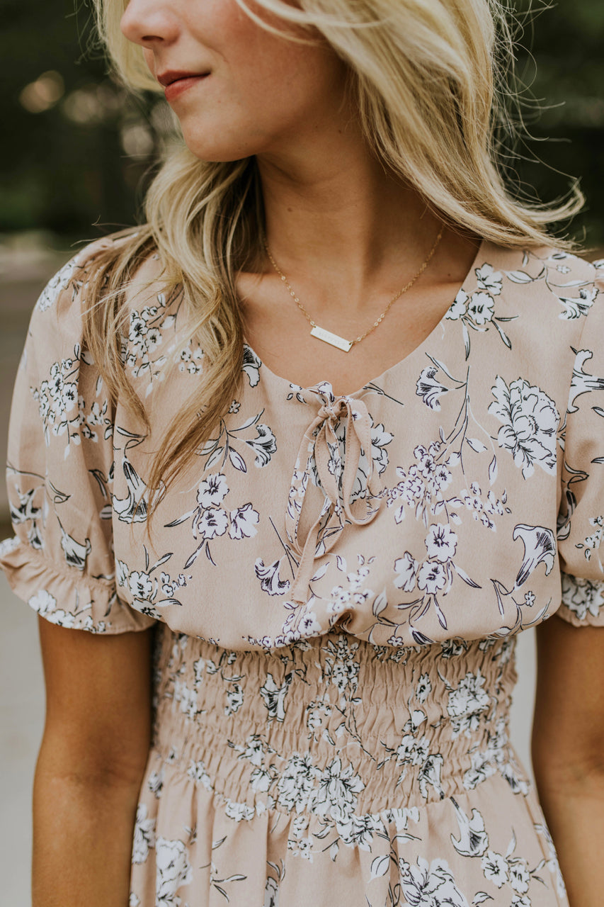 Tan Floral Dress w/Elastic Waist | ROOLEE