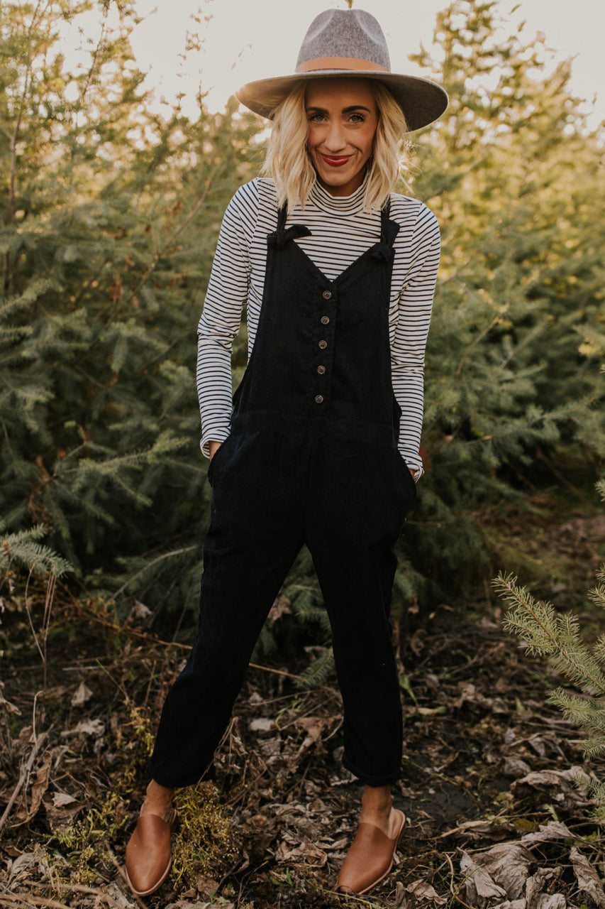 Black Corduroy Overalls with Shoulder Ties | ROOLEE