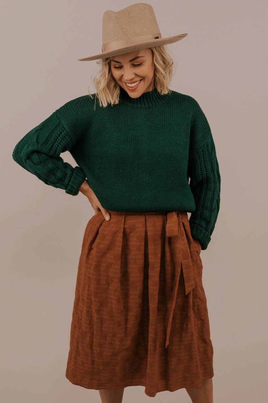 Midi Skirt with Tie Belt | ROOLEE